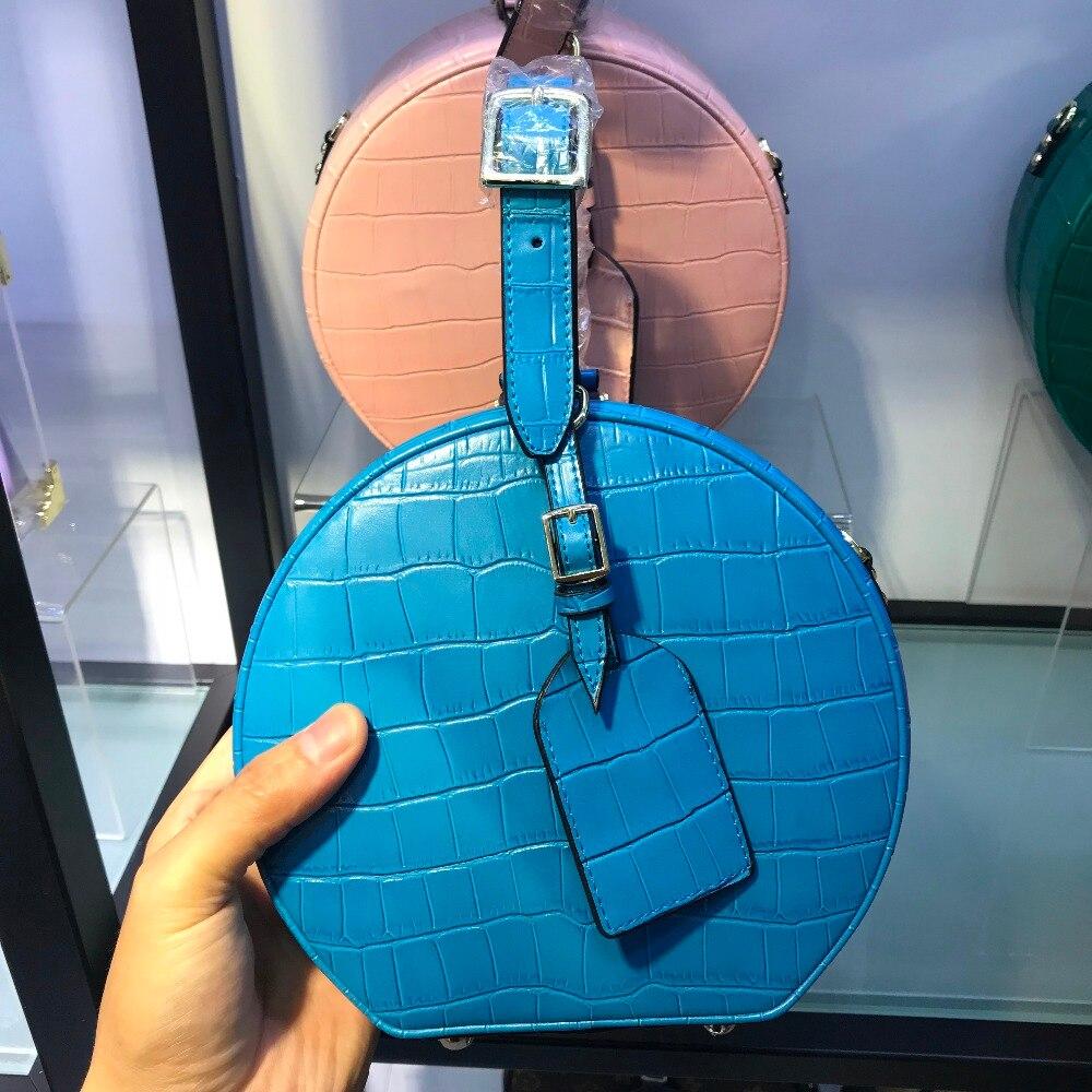 2018 vintage de luxe ronde sac en cuir véritable femmes circulaire boîte travail sacs lady causal messenger sac bolsa féminin cercle fourre-tout