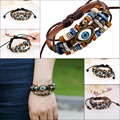 Ethnic Vintage Punk Multi-layer Black Brown Leather Lucky Turkish Blue Evil Eye Charms Men Male Bracelet Gifts Pulseira
