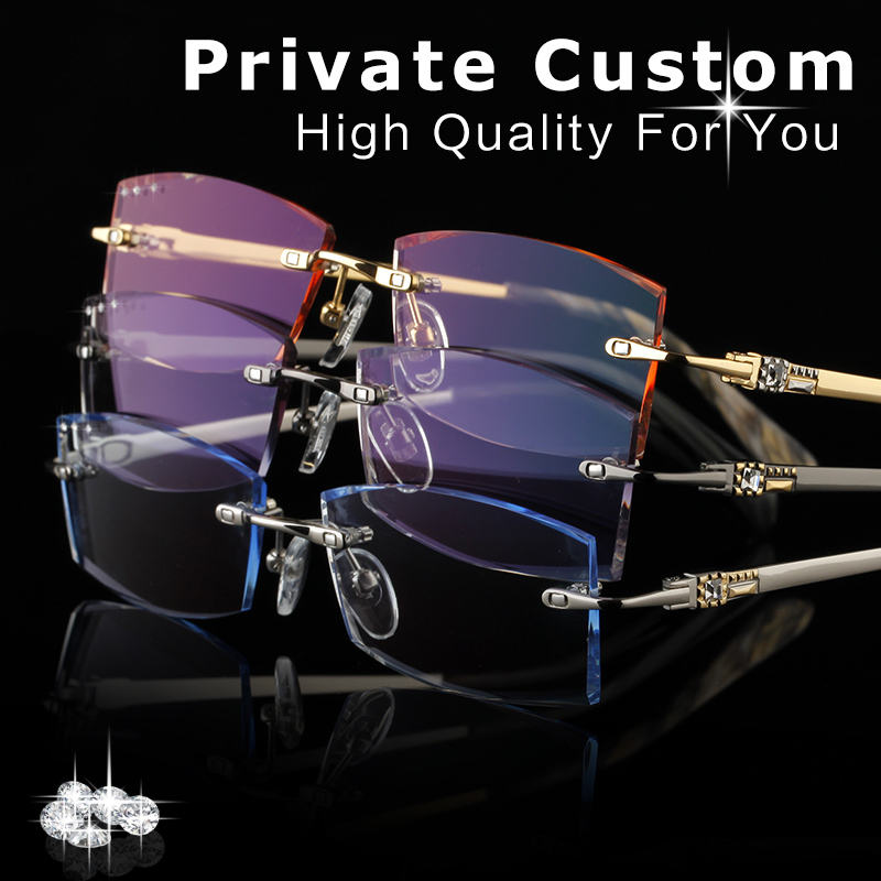 High Clear Lens Design Glasses Frames Gold Men Rimless Eyeglasses Male Complete Spectacle Prescription Computer Eye Glasses 648(China)