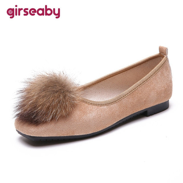 Girseaby New Flat Shoes Women Ballet Flats Shoes Woman Black Square Toe  Faux Fur Ball Comfortable Work Nurse Shoes F186 1a3fe86c571d