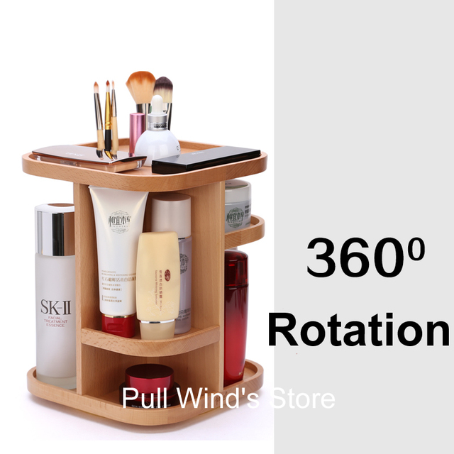 Exquisite Wooden 360 Rotation Storage Box Dressing Table Wood Storage Rack  Desktop Cosmetic And Small Objects