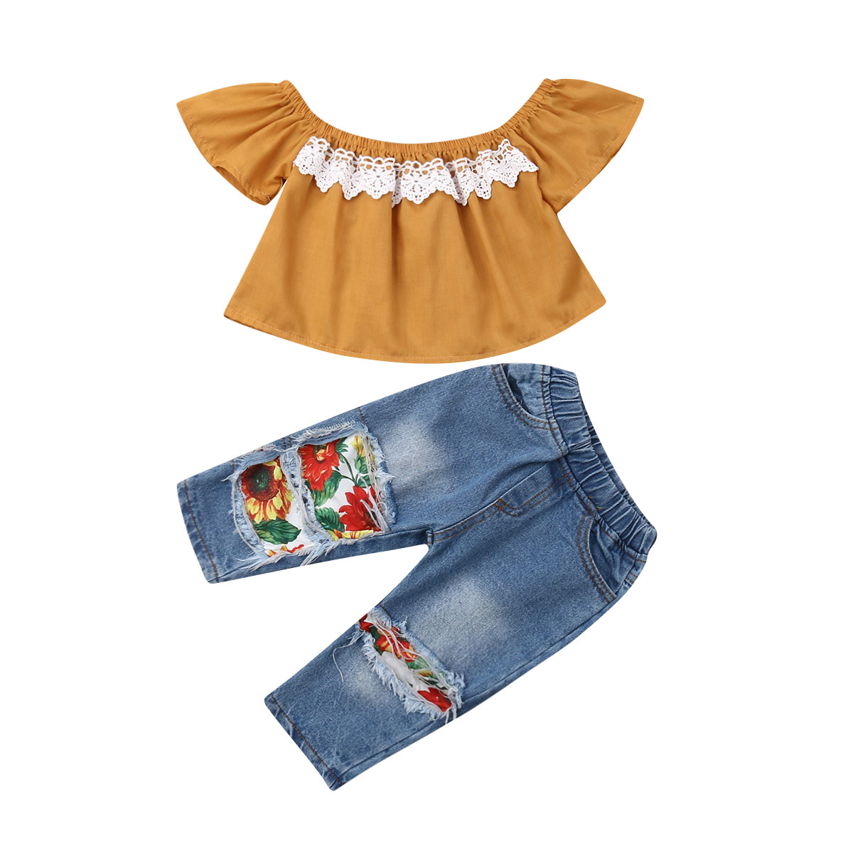 Toddler Kid Girls Flare Sleeve Ruffles Lace Layers Tops Blouse with Plaid Pants Outfits Set