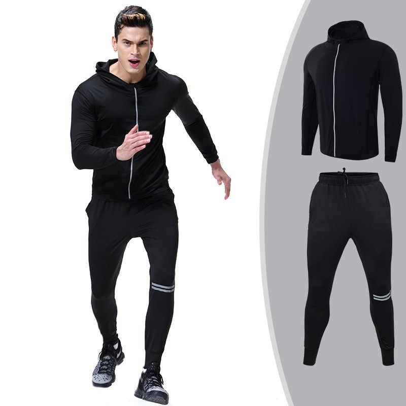Для мужчин спортивной Бег Комплект Спортивный комплект для бега Костюмы одежда спортивный костюм пальто на молнии и Брюки для девочек зал тренировочные Фитнес комплект 2 шт./компл.