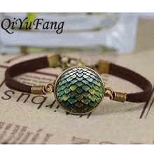 QiYuFang Jewelry bracelet Bangles leather Steampunk glass Game of Thrones Dragon Egg 1pcs/lot men vintage 2017 charms doctor who