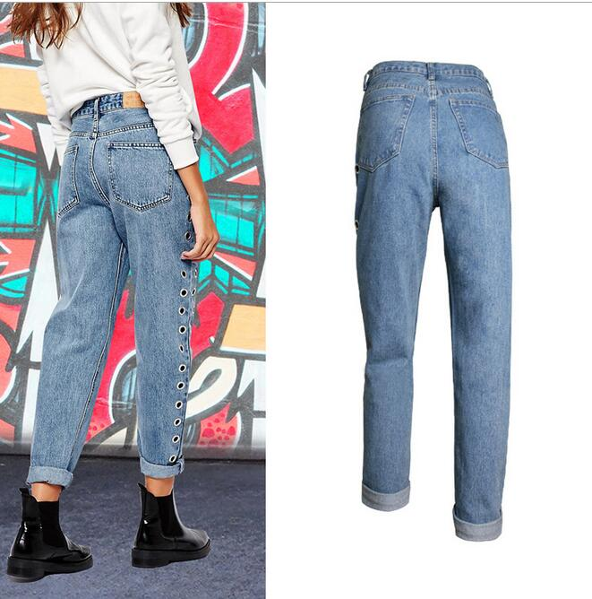 New 2018 European Style Decoration Female BF Wind Waist Height Slacks Hollow Metal Eyelets Jeans Rivets