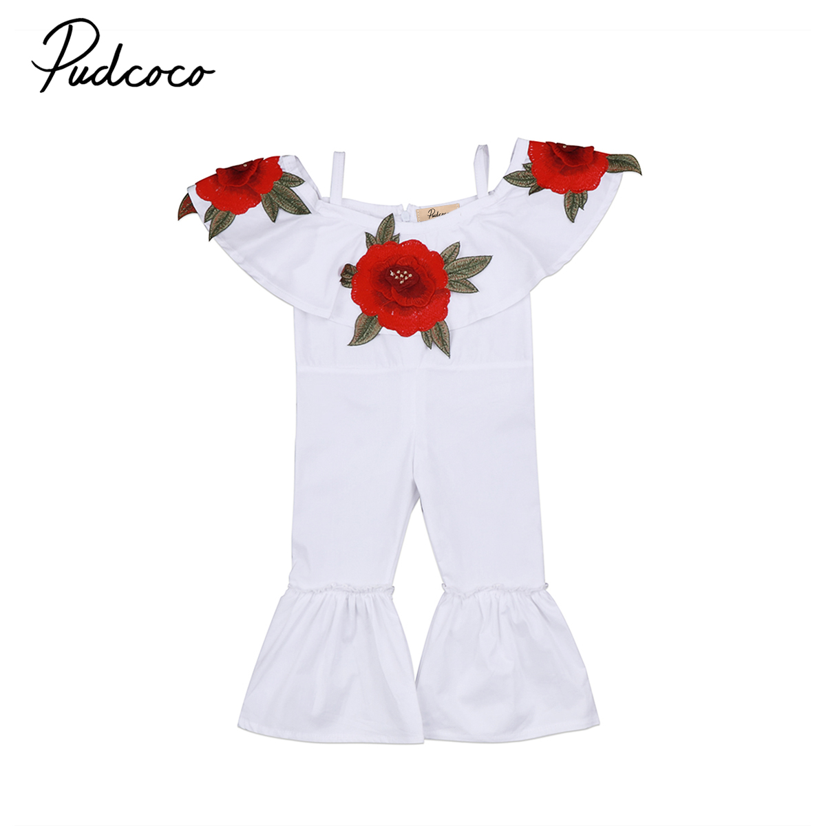 Kids Infant Baby Girls Flower Off-shoulder Strap Clothing Romper Floral Cute Playsuit Clothes Outfits Sunsuit Fille Clothing
