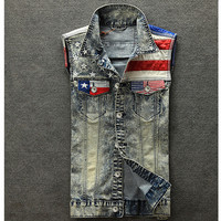 Vintage Denim Vest Men American Flag Pattern Spliced Leather Vest Waistcoat Short Men's Sleeveless Jacket Fashion Pocket Colete