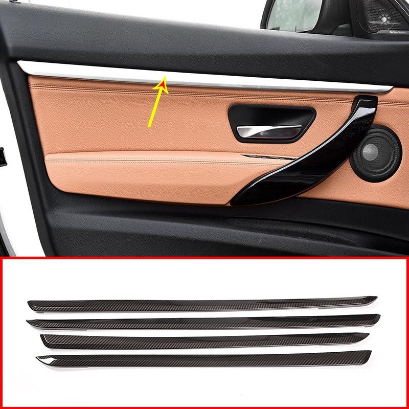 Carbon Fiber ABS Plastic Car Interior Door Decoration Strips Trim For BMW 3 Series GT F34