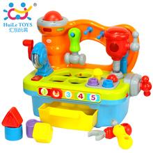 HUILE TOYS 907 Baby Toys Kids Workbench Pretend Play Tool Set Electric Toy with Music & Light & Blocks Toys for Children Boys