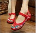 Phoenix Bordado Cerrojo Zapatos de estilo Chino antiguo Beijing cómodo Suave Suela Pisos Casual Tamaño 34-43 Zapatos de Baile