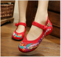 Phoenix Embroidery Hasp Shoes Chinese style old Beijing comfortable Soft Sole Casual Flats Size 34-43 Dance Shoes