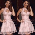 Dressgirl Pink Cocktail Dresses 2017 A-line High Collar See Through Appliques Lace Sexy Short Mini Homecoming Dresses