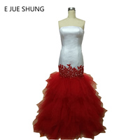 E JUE SHUNG robe de soiree White And Red Lace Appliques Mermaid Long Evening Dresses Elegant Prom Party Dresses Formal Dress