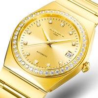 Карнавал лучший бренд класса люкс Золото Алмаз автоматические механические наручные часы для мужчин Японии двигаться для мужчин t мужской