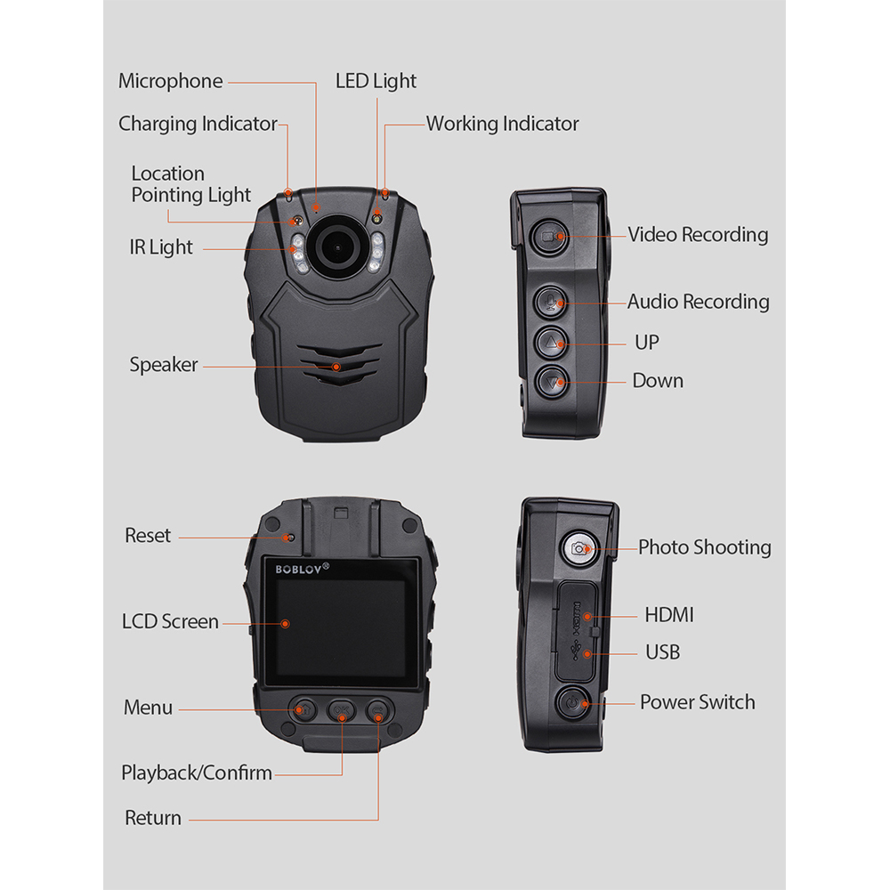 Новая камера BOBLOV 32 GB/64 GB HD 1296 P, камера Novatek 96658, Полицейская безопасность, ИК Ночное Видение, 32 МП, видео, быстрая зарядка, камера - 3