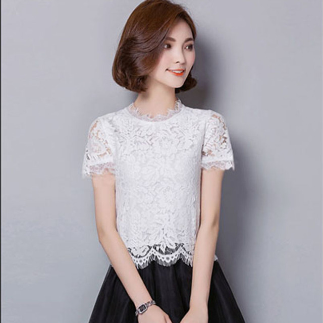S-5XL Plus Size Women Spring Summer Style Short Sleeve Lace Blouses Shirts Lacy Casual O-Neck Blusas Tops Feminina DD1637