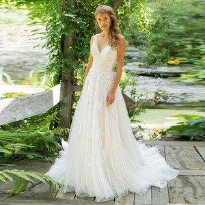 Image 1 - 2020 Vestido De Noiva A Line V Neck Wedding Dress Top Lace Appliques Bridal Dress Custom Made Wedding Gown Sweep Train