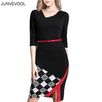 Plaid Dress Casual Women Office Summer Beach Dresses Sexy Female Party Club Wedding Evening Belt Elegant