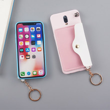 Cute Pink Green Candy Color With Card Pocket Cases For Xiaomi Redmi Note Mi 6 7 8 Lite 9 9SE Pro Soft Have Lanyard Back Funda