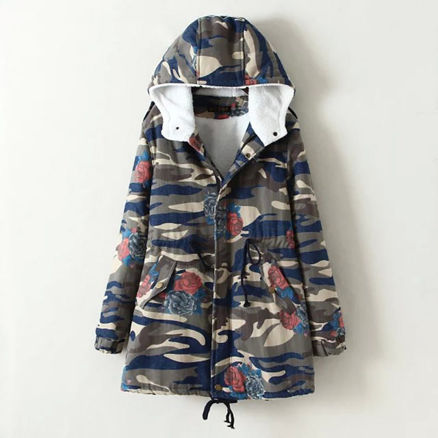 BringBring 2016 Winter Camouflage Loose Coat Women Slim Cotton Jacket Plus Size Coats and Jackets Outwear 1723