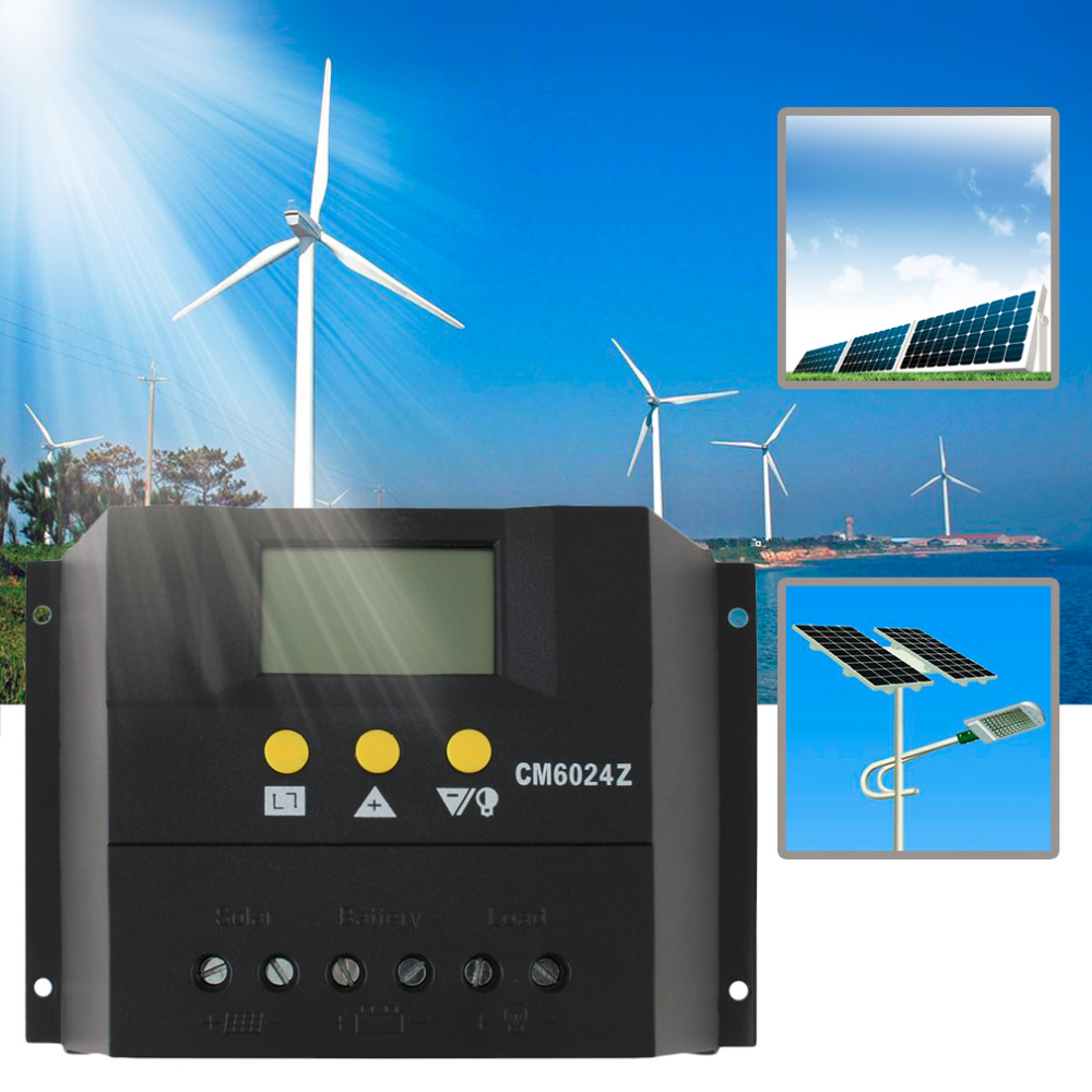 1 pc Intelligent PWM charge mode PY6024Z 60A 12-24V Solar Regulator Solar Charge Controller LCD Solar Genetator Voltage Control cm3024z 12 24v 30a solar regulator charge controller pwm charge mode lcd solar panels genetator voltage current controller