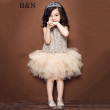 B&N Floral Girl Dress Hollow Out O-neck Summer Baby Clothes Lace Ball Gown Princess Party Dresses For Children цена в Москве и Питере