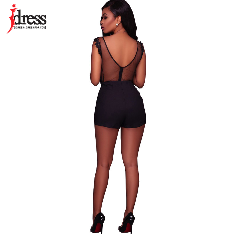 IDress Fashion 2018 New Lace Jumpsuit Women Summer Short Bodycon Playsuit Sexy Backless Mesh V Neck Overalls Party Lace Bodysuit (6)