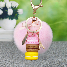 Cake Macaron KeyChain Fluffy Rabbit Fur Pom Key Chain MINI Macaron Key Ring Fur Pompons Keyring Car Key Holder Charm Bag Pendant