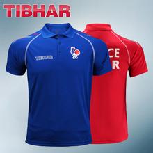 2019 prawdziwe Tibhar Francja National Table tenis koszulki dla mężczyzn kobiet ping pong Odzież Sportswear koszulki tanie tanio Pasuje do rozmiaru Weź swój normalny rozmiar 01911B