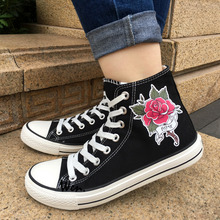 Wen Design Black Canvas Shoes Rose Flower Design Tattoo Men Women s High Top Sneakers Christmas