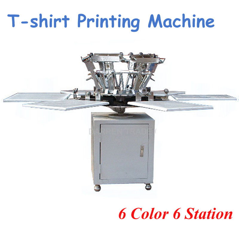 La Machine d'impression d'écran de T-shirt de 6 couleurs 6 stations est livrée avec une imprimante de bonne qualité de Base