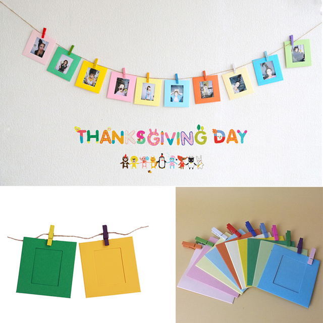 10pcs Lot 3 Inch Colorful Diy Wall Hanging Cute Paper Photo Frame With Rope Wood