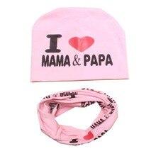 Baby Girls Clothing Hat Set Letter Printed Cotton Cap Baby Cotton Hats Newborn Hat Children Scarf Collar Boys Beanie Kids Cap