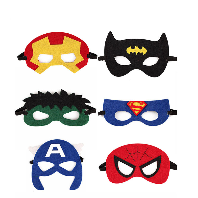 Superhero Mask Cosplay Spiderman Superman Captain Wonder Woman Halloween Costume Kids Party Supplies