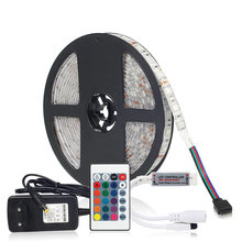 5 M 5050 RGB Mini IR LED Strip Lampu Tahan Air IP65/IP20 RGB LED Ribbon Tape Remote 24 Kunci controller 12 V Power Adaptor Kit(China)