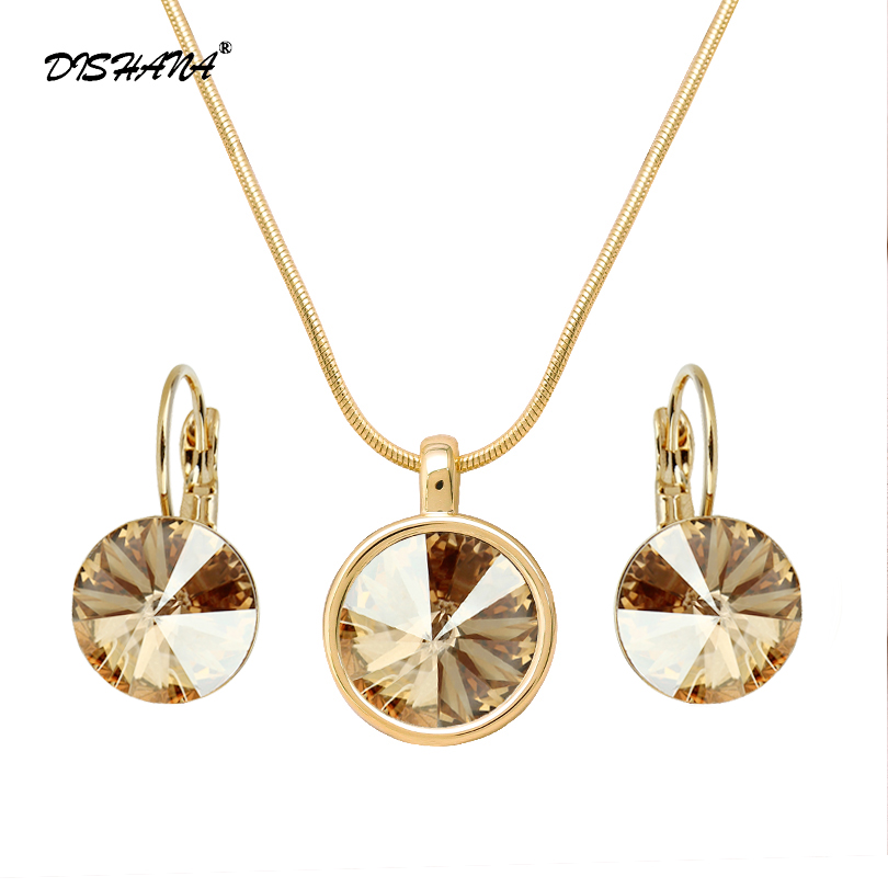 Fashion Jewelry Set Bridal 12mm Austria Kristal Kalung Set untuk Wanita Batu Earring Perhiasan Parure Bijoux Femme (JS0048)