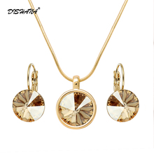 Fashion Jewelry Sets Bridal 12mm Austrian Crystal Necklace Set for Women Stones Earring Je