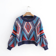 geometric pullover woman sweater long sleeve casual girl female fashion 2019 autumn o-neck