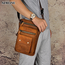 SIMLINE Brand Vintage Casual Genuine Leather Cowhide Men Mens Male Large Capacity Waist Pack Shoulder Crossbody Bag Bags For Man