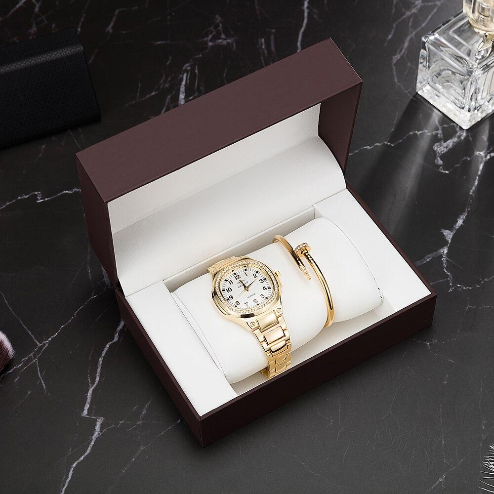 Fashion Women's Quartz Watch Decorate Rhinestone Dial With Stainless Steel Bracelet Set High Quality Big Gift Watch Box Hot 3Pcs