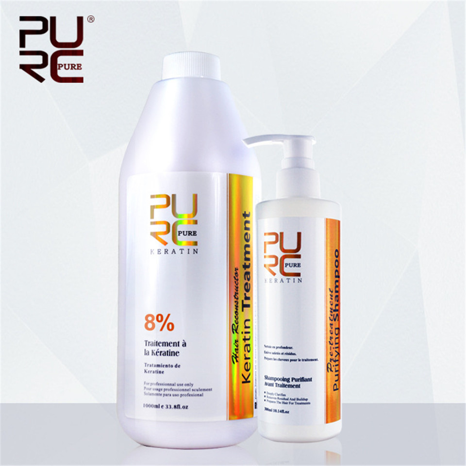 2PCS lot PURC 8 Straightening Brazilian Chocolate Keratin Hair Treatment 1000ML 300ML Purifying Shampoo Salon Hair