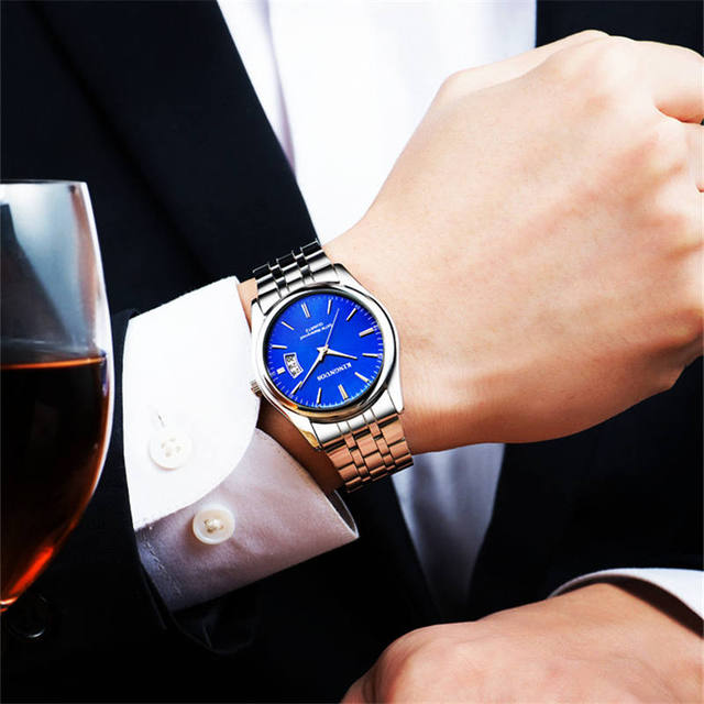 Full Stainless Steel Men Watch Fashion Male Date Calendar Clock Sports Watchband Waterproof Man Quartz Wrist Watches KINGNUOS