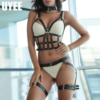 UYEE 2PCS Sculpting 2pcs Garter Sets For Women Lingeire BDSM Stockings Leather Harness Bra Strap Body Suspenders Harajuku Belts 1
