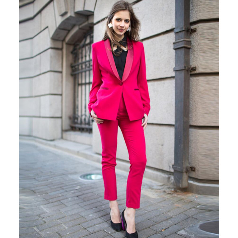 New Fuchsia Formal Pant Suits For Weddings Womens Business Female Trouser Tuxedo Jacket Pants