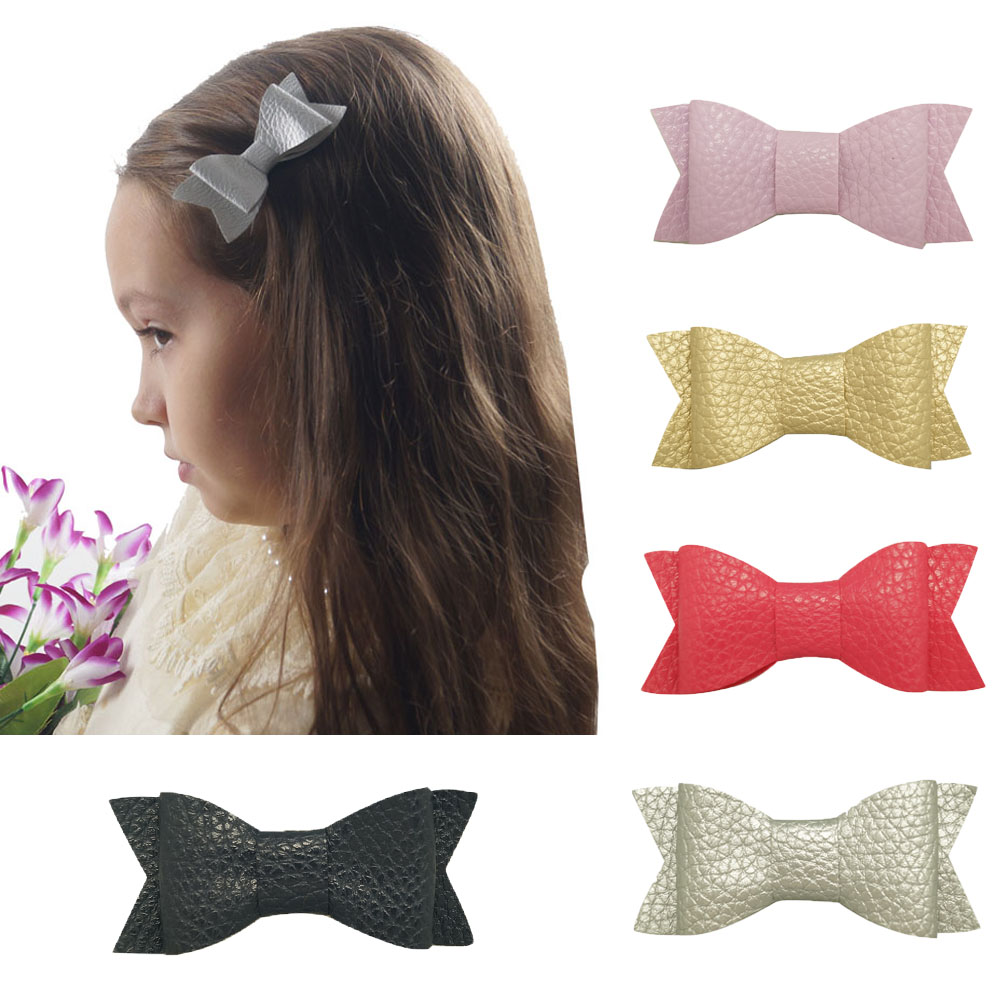 5 Pieces 3 10 Colors Handmade Cute Small Leather Hair Bow With Clip For Kids Girl Swallowtail Hair Accessories