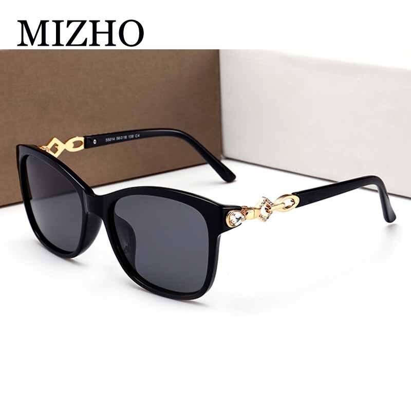 MIZHO נהיגה ריינסטון פלסטיק נשים משקפי שמש מקוטב כיכר קיץ אופנה מותג עיצוב נשי משקפיים שמש 2018 עם תיבה