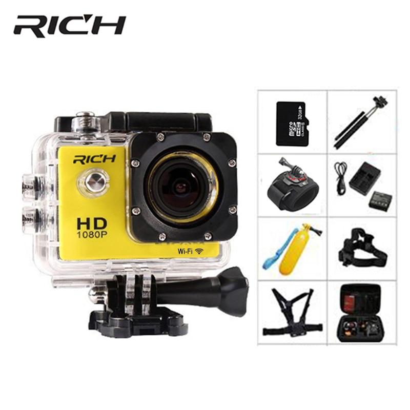 RICH Action Camera HD wifi 1080P go 2.0 Inch pro underwater Waterproof cameras 30M Mini Sports camera Photo outdoor Video Cam