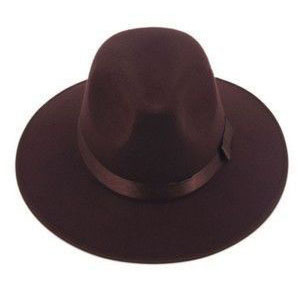 Модные Винтаж Для женщин шляпа с широкими полями ленты теплая шерсть Смеси фетровая шляпа котелок Fedora Кепки - Цвет: coffee
