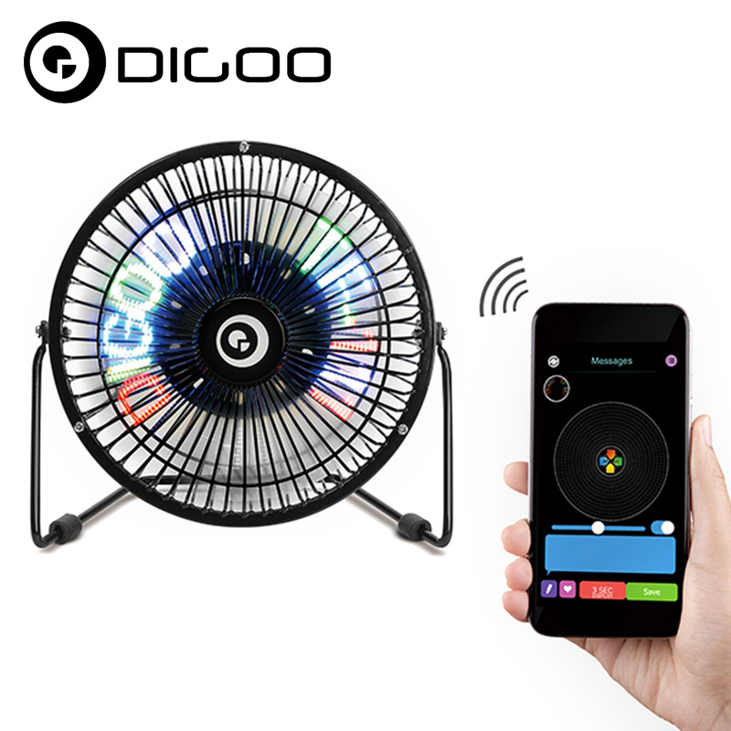 Digoo DG-TF111 DIY 6 Inches USB LED Light Metal Electrical Rotatable Clock Fan Colorful Display Bluetooth Connect APP Control mobil 600xp220 320 150 100 68 680 208l