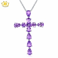Hutang 3 3CTW Natural African Amethyst Solid 925 Sterling Silver Cross Pendant Necklace Gemstone Fine Jewelry